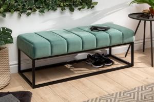 Dizajnová lavica Halle 110 cm zamat - mentolová zelená