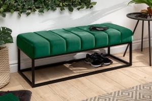 Dizajnová lavica Halle 110 cm zamat - smaragdová zelená