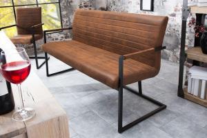 Dizajnová lavica Maximiliano vintage hnedá