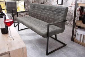 Dizajnová lavica Maximiliano vintage sivá
