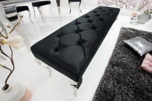 Dizajnová lavica Rococo, 170 cm, čierna