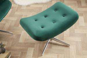 Dizajnová otočná taburetka Joe - zelený zamat
