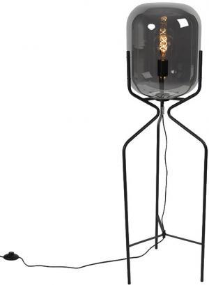 Dizajnová stojaca lampa čierna s dymovým sklom - Bliss