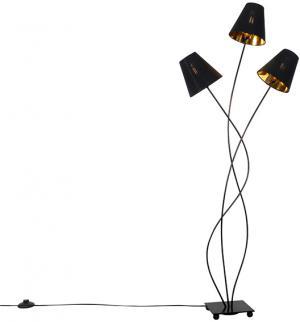 Dizajnová stojaca lampa čierna so zlatým 3-svetlom - Melis