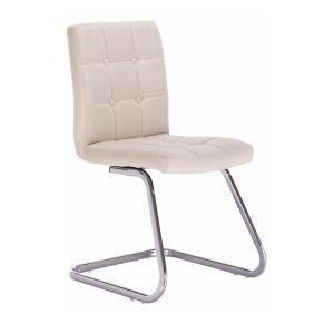 Dizajnová stolička, krémová látka, LAVINIA