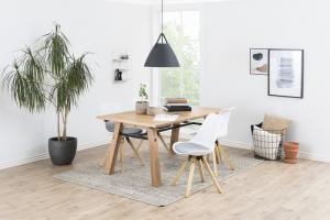 Dizajnová stolička Nascha, biela-šedá-prírodná