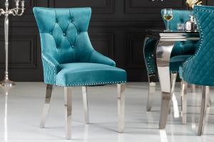 Dizajnová stolička Queen Levia hlava zamat tyrkysová