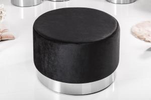 Dizajnová taburetka Alejandra 55 cm, strieborná / čierna