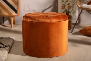 Dizajnová taburetka Rococo 50 cm hrdzavo-hnedá