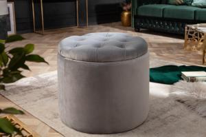 Dizajnová taburetka Rococo 50 cm strieborná