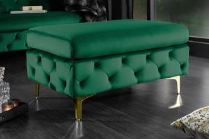 Dizajnová taburetka Rococo zelená / zlatá