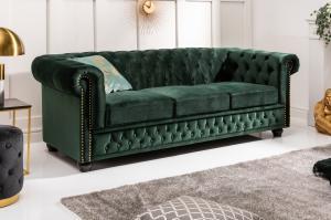 Dizajnová trojsedačka Chesterfield 205 cm zelená