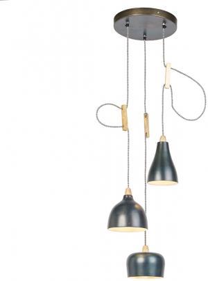 Dizajnová závesná lampa zinková s 3 svetelnými bodmi - Vidya