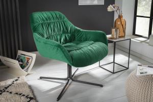 Dizajnové kreslo Bently smaragdovozelený zamat
