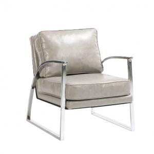 Designové křeslo, stříbrnošedá / chrom, KUMON 0000227973 Tempo Kondela