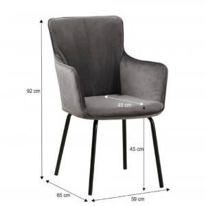 Dizajnové kreslo, sivý zamat/čierna, VETAR