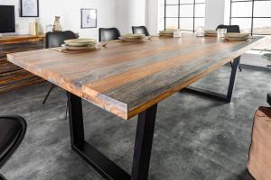 Dizajnový jedálenský stôl Flame, 200 cm, sheesham sivý