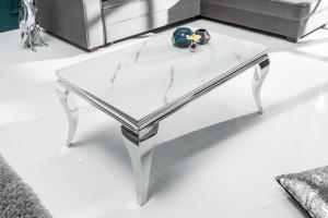 Dizajnový konferenčný stôl Rococo 100 cm strieborný - mramor