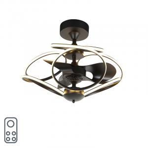 Dizajnový stropný ventilátor čierny s diaľkovým ovládaním vrátane LED - Kauv