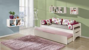 DL Posteľ s prístelkou Bela 90x200 cm Farba: Biela, Motív: Sova