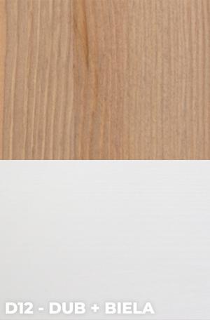 DOK Regál z masívu Malmo Povrchová úprava:: D12 - Dub + Biela