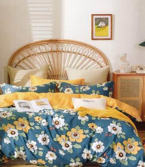 DomTextilu Bavlnené obojstranné modro žlté posteľné obliečky s kvetmi 3 časti: 1ks 200x220 + 2ks 70 cmx80 Žltá 70 x 80 cm 36931-176518