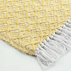 DomTextilu Bavlnený žltý koberec so strapcami 50 x 80 cm 39365
