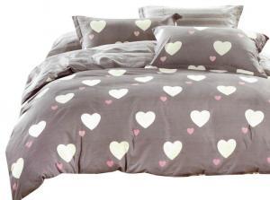 DomTextilu Béžové posteľné obliečky 160x200 s valentínským motívom sŕdc  Béžová 10228-28598