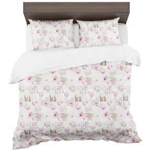 DomTextilu Béžové posteľné obliečky z mikrovlákna s motívom kvetov 3 časti: 1ks 160 cmx200 + 2ks 70 cmx80 Béžová 140x200 cm 15182-101726