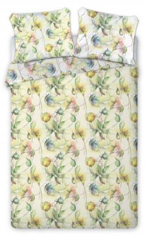 DomTextilu Biele posteľné obliečky s motívom žlto zelených kvetov 3 časti: 1ks 200x220 + 2ks 70 cmx80 Žltá 32881-163347