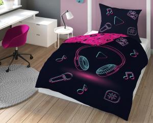 DomTextilu Čierno ružové posteľné obliečky s motívom I LOVE MUSIC 2 časti: 1ks 160 cmx200 + 1ks 70 cmx80 Čierna 140 x 200 cm 40073-184511