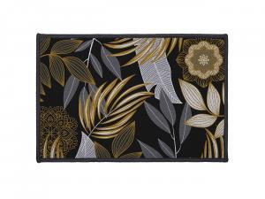 DomTextilu čierny malý koberec do predsiene s listami 40 x 60 cm 36777