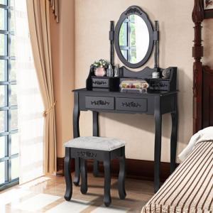 DomTextilu Čierny toaletný stolík s veľkým zrkadlom 17846 Čierna