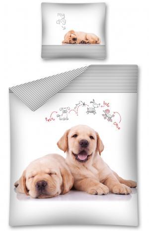 DomTextilu Detské bavlnené posteľné obliečky s motívom psa 2 časti: 1ks 160 cmx200 + 1ks 70 cmx80 Biela 160x200 cm 13965-40771