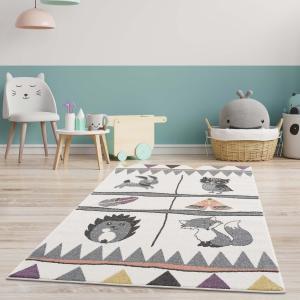 DomTextilu Detský koberec na hranie pre chlapca aj dievčatko lesné zvieratká 41828-197183  80 x 150 cm krémová