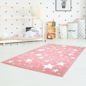 DomTextilu Detský ružový koberec na hranie s hviezdami 41997-197321