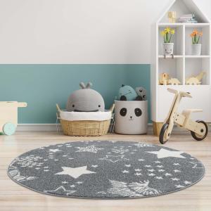 DomTextilu Detský sivý okrúhly koberec STARS 41643-196797
