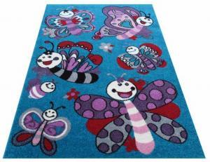 DomTextilu Detský tyrkysový koberec s kreslenými motýľmi 13068-157450