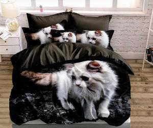 DomTextilu Elegantné čierne posteľné obliečky s motívom bielej mačky 3 časti: 1ks 160 cmx200 + 2ks 70 cmx80 Čierna 37873-179087