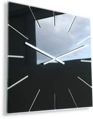 DomTextilu Elegantné hranaté hodiny čiernej farby 29249