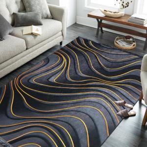DomTextilu Exkluzívny sivo čierny protišmykový koberec so zlatým vzorom 39316-183233