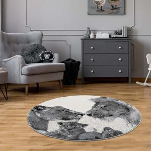 DomTextilu Fenomenálny sivý okrúhly koberec savana love 41691-196942