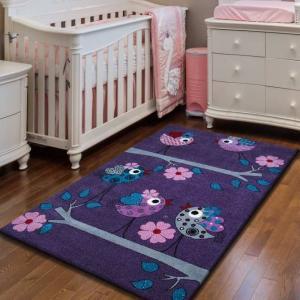 DomTextilu Fialový koberec pre deti s vtáčikmi na konári 13062-157429