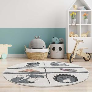 DomTextilu Hravý detský okrúhly koberec s motívom lesné zvieratká 41639-196785  160 cm krémová