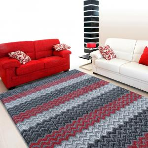DomTextilu Koberec do obývačky v červeno sivej farbe 14903-136407
