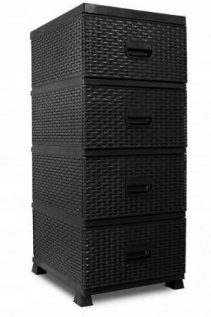DomTextilu Komoda so šuflíkmi z ekoratanu čiernej farby 40498 Čierna