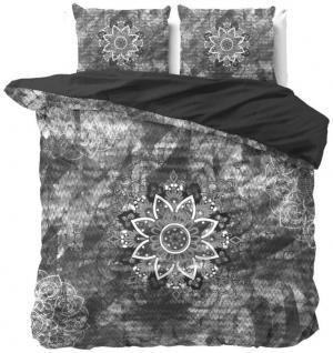 DomTextilu Krásne bavlnené čierno sivé posteľné obliečky s motívom kvetu 180 x 200 cm 38098