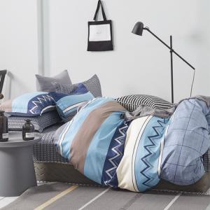 DomTextilu Krásne modré bavlnené posteľné obliečky s geometrickým motívom 3 časti: 1ks 160 cmx200 + 2ks 70 cmx80 Modrá 40690-185826