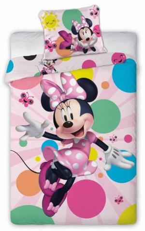 DomTextilu Krásne žiarivé posteľné obliečky Minnie 2 časti: 1ks 140 cmx200 + obliečka 50x70 Ružová 140x200 cm 25121-198286