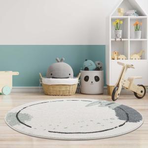 DomTextilu Krémový detský okrúhly koberec so zelenou machuľou 41626-196711